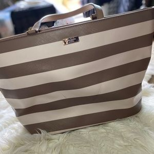 Taupe and Cream Kate Spade Large Tote